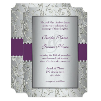 Any Color Or Plum Silver Swirl Wedding Invitations