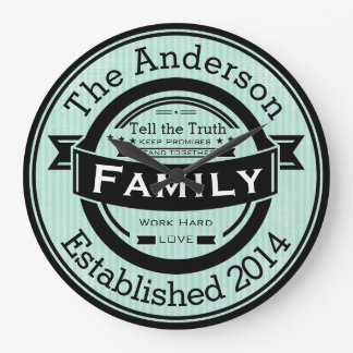 Any Color Personalized Family Name Retro Style Large Clock