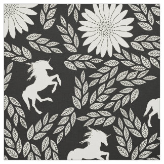 Any Color shows as Black Ivory Unicorn Floral Fabric