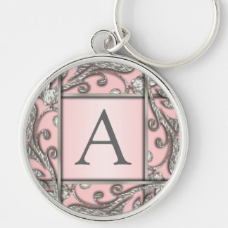 Any Color Silver Lattice Monogram Silver-Colored Round Keychain