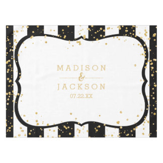 Any Color Stripes & Gold Confetti Wedding Monogram Tablecloth
