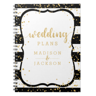 Any Color Stripes & Gold Confetti Wedding Planner Spiral Notebook
