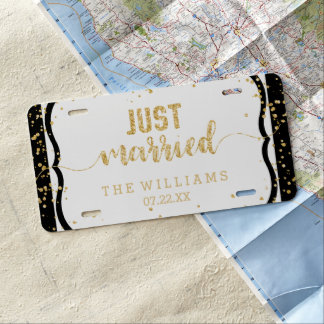 Any Color Stripes & Gold Wedding Just Married License Plate