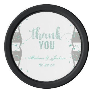 Any Color Stripes & Mint Confetti Wedding Favor Poker Chips