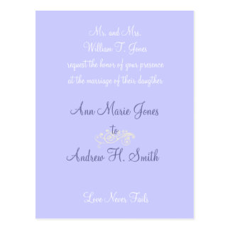Any Color Wedding Periwinkle Blue Invitation Postcard