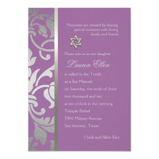 "Any Color with Silver Damask Bat Mitzvah 5"" X 7"" Invitation Card"