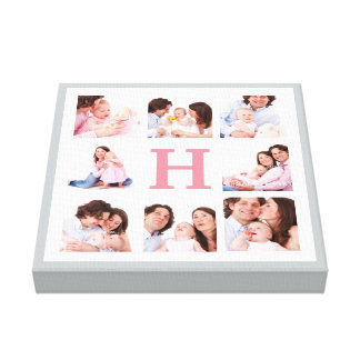 Any Colour Monogram Family Photo Collage Canvas Print