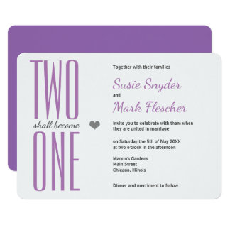 Any Colour Two Become One Bible Wedding Invitation