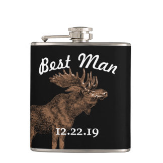 Any Custom Color Best Man Flask Vintage Moose