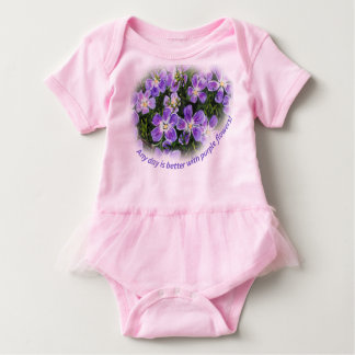 """Any day is better with purple flowers"" baby tutu Baby Bodysuit"