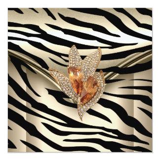 Any Event Elegant Zebra Caramel Cream Black Gold Card
