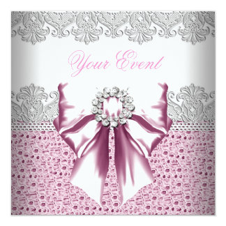"Any Event Pink Diamonds Lace Pink Party 5.25"" Square Invitation Card"