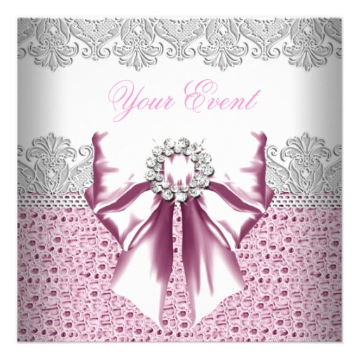 Any Event Pink Diamonds Lace Pink Party Personalized Announcement