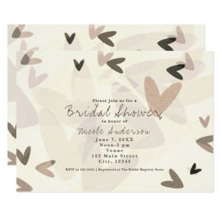 ANY EVENT Pink & Taupe Hearts Chic Invitations