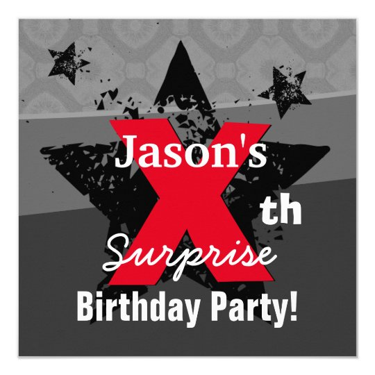 Any KIDS Year Surprise Birthday Charcoal Grunge CX Card