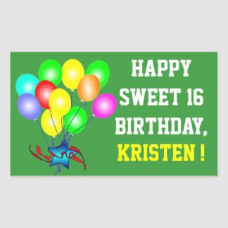 Any Name & Color Happy Sweet 16 Birthday Stickers