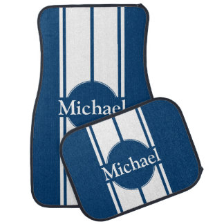 Any Name or Back Colour White Racing Stripes Car Mat