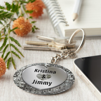 Any Names On Sparkling Silver Heart Keychain