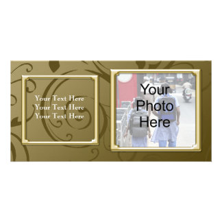 Any Occasion Classy Gold Swirl Photo Card, Family Photo Cards