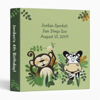 ANY OCCASION Monkey, Zebra, Lion Jungle Safari 3 Ring Binders