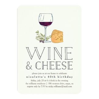 Elegant Cheese And Wine Invitations & Announcements