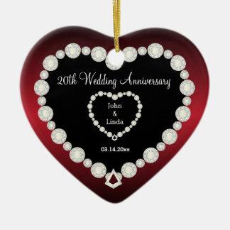 Any Wedding Anniversary | Garnet Red | DIY Text Ceramic Heart Ornament