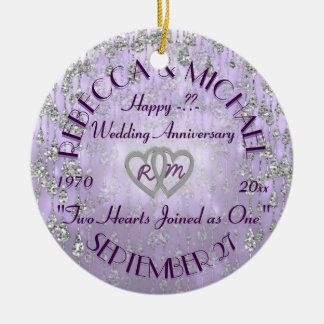 Any Year Anniversary Lavender Round Ceramic Ornament