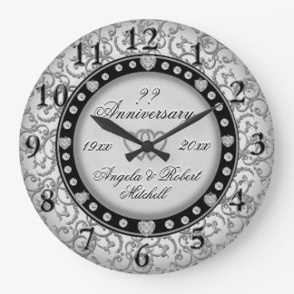 Any Year Anniversary Silver Large Clock
