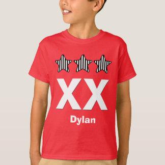 Any Year Birthday Boy Three Stars Big Number T-Shirt