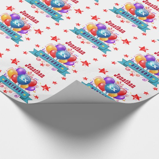 Any Year Birthday Festive Colourful Balloons V04A Wrapping Paper