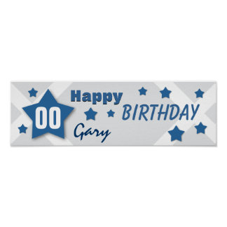 ANY YEAR Birthday Star Banner BLUE and SILVER V06 Posters