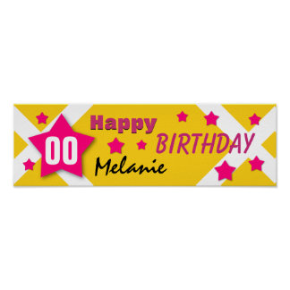 ANY YEAR Birthday Star Banner GOLD and PINK V03 Poster