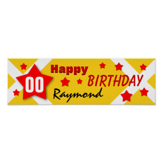 ANY YEAR Birthday Star Banner GOLD and RED V04 Posters