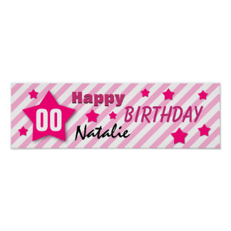 ANY YEAR Birthday Star Banner PINK STRIPES STARS 5 Posters