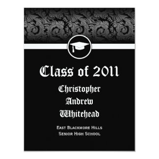 Any Year~ Black and White Damask Graduation Card