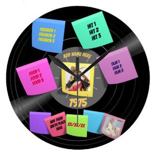 ANY Year Born 60s 70s Vinyl Record Photo Custom Large Clock