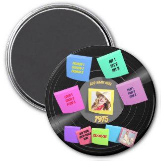ANY Year Born 60s 70s Vinyl Record Photo Custom Magnet