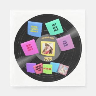 ANY Year Born 60s 70s Vinyl Record Photo Custom Paper Napkin