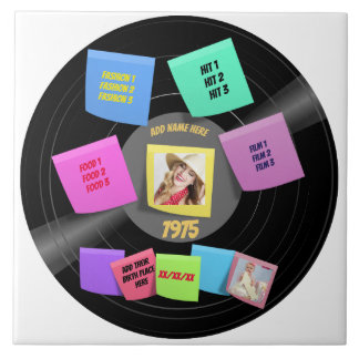 ANY Year Born 60s 70s Vinyl Record Photo Custom Tile