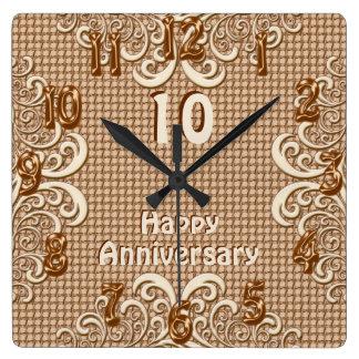 ANY YEAR Happy Anniversary Burlap and Lace Clocks