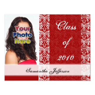Any Year~ Red White Lace Graduation Announcement