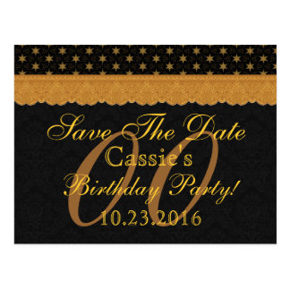 Any Year Save the Date Birthday Gold Black Lace 12 Postcard