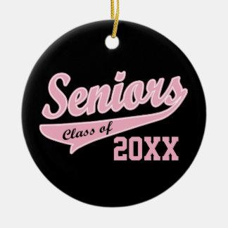 Any Year, Senior Class Pink/Black Graduation Round Ceramic Ornament