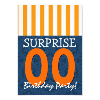 ANY YEAR Surprise Birthday Blue Orange Template 2 Card