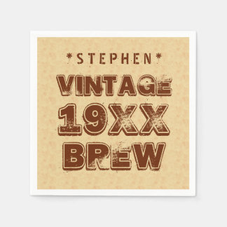 Any Year VINTAGE BREW Grunge Text Gold G11Z1 Disposable Napkins