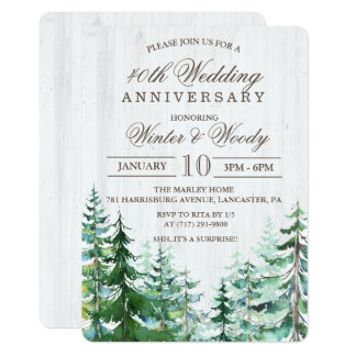 ANY YEAR - Wedding Anniversary Rustic Invitation