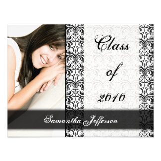Any Year White Formal Design Photo Graduation Personalized Announcement