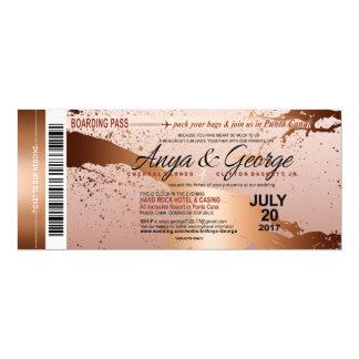 Anya Copper Rose Gold Foil Grunge Wedding Card