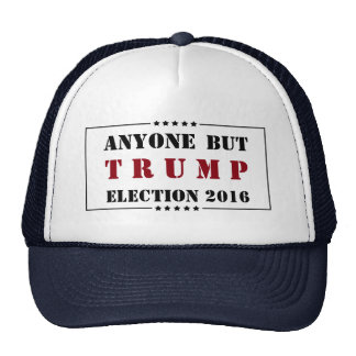 Anyone But Trump BLACK on White With Stars Trucker Hat