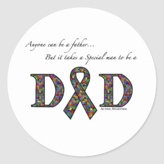 Anyone can be a father...autism round sticker